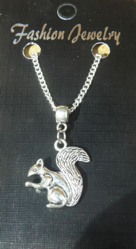 "18"" 24"" Inch Chain Necklace & 3D Squirrel Pendant Charm Rodent Souvenir Gift New"